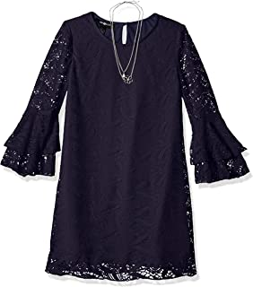 Amy Byer Girls' Big Bell Sleeve A-line Lace Dress