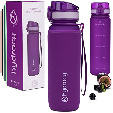 Leak Proof /& No Sweat Gym Bottle with Fruit Infuser Strainer for Fitness or Sport /& Outdoors Large 500ml 1Liter BPA Free Water Bottle Hydracy Water Bottle with Time Marker