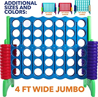 Giant 4 in A Row, 4 to Score – CHOOSE YOUR SET: PREMIUM OR STANDARD Plastic Four Connect Game in JUMBO (4FT) OR JUNIOR (3FT) Set with 44 Rings by Rally and Roar