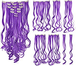 SWACC 7 Pcs Full Head Party Highlights Clip on in Hair Extensions Colored Hair Streak Synthetic Hairpieces (20-Inch Curly, Purple)