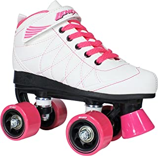 Hoopla Kids Roller Skates for Kids Children - Girls and Boys - Kids Rollerskates - Childrens Quad Derby Roller Skate for Youths Boy/Girl - Kids Skates (White w/Pink Wheels)