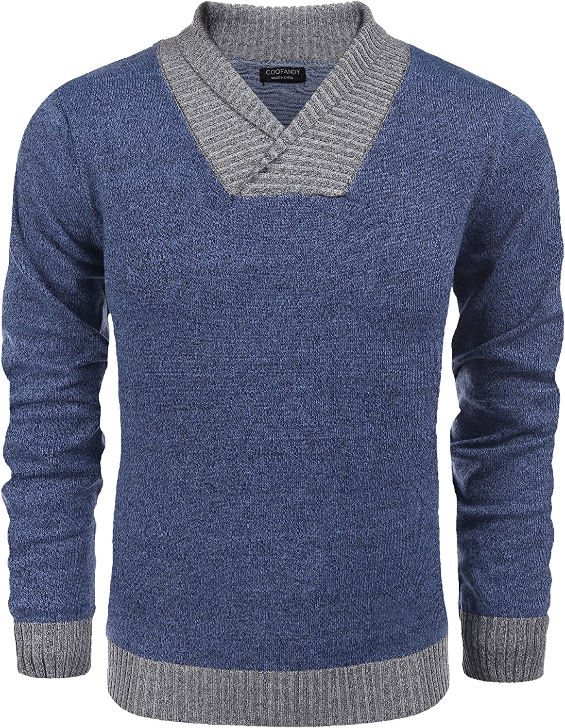 COOFANDY Men's Knitted Sweaters Casual V-Neck Slim Fit Pullover Knitwear