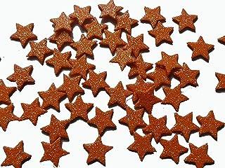 50 estrellas pequeñas de goma eva brillante color naranja de 1,5 cm Silvys handmade.