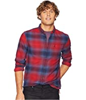 Long Sleeve Ombre Plaid Cotton - Non-Stretch Shirt