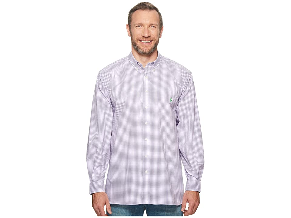 Polo Ralph Lauren Big Tall Poplin Long Sleeve Sport Shirt (Grapevine/White) Men