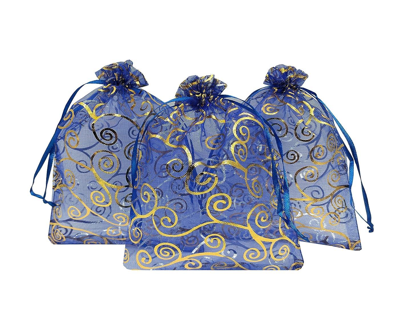 Ankirol 100pcs Sheer Organza Favor Bags 5x7'' For Wedding Bags Samples Display Drawstring Pouches (blue-gold swirl)