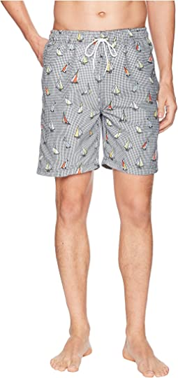 "7"" Sailboat Print Swim Short"