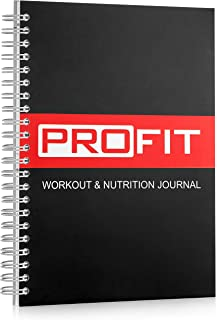 ProFit Fitness and Food Journal - Weight Loss Planner | Workout Log | Diet Notebook | Gym Exercise Diary - Easy-To-Use A5 Fit Book / 6x8 Inches / 140 Pages / Undated