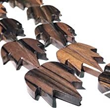 [ABCgems] Extremely-Rare Tiger Kamagong Tree AKA Ebony Hardwood (Prime Cut from Center of Wood- Very Durable) 40-43mm Hand-Carved Smooth Flat Maple-Leaf Focal Beads (5 Pieces Wholesale Lot)