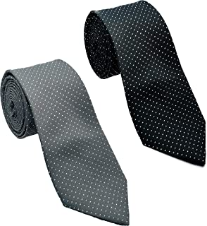 Luxeis Men Premium Neck Tie Combo (Black, Gray; Free Size) (Pack of 2)
