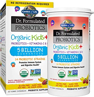 Garden of Life-Dr. Formulated Probiotics Organic Kids-Strawberry Banana-Acidophilus and Probiotic Promotes Immune System,Digestive Health-Gluten,Dairy,Soy-Free,No Sugar Added-Chewables (30 Count)