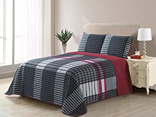 All American Collection New 3pc Plaid Printed Reversible Bedspread/Quilt Set (Full/Queen Size)