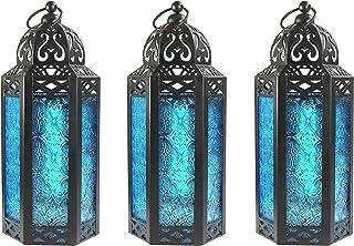 Decorative Candle Lanterns for Room Decor, Medium, Blue, Set of 3