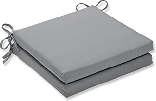 Pillow Perfect Outdoor/Indoor Tweed Gray Squared Corners Seat Cushion 20x20x3 (Set of 2)