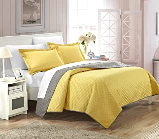 Chic Home 2 Piece Teresa Reversible Color Block Modern Quilt Set, Twin, Yellow,QS2602-AN