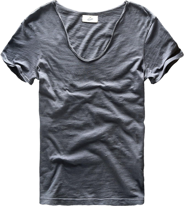 Zecmos Men's V Neck Slim Fit 100 Cotton T Shirts color Navy Size S