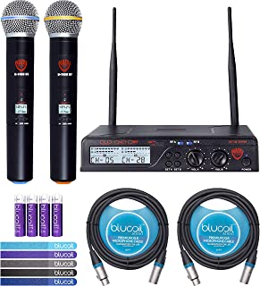 Nady U-2100 UHF Wireless Microphone System Bundle with Blucoil 2 Pack of 10-FT Balanced XLR Cables, 5-Pack of Reusable Cable Ties, and 4 AA Batteries