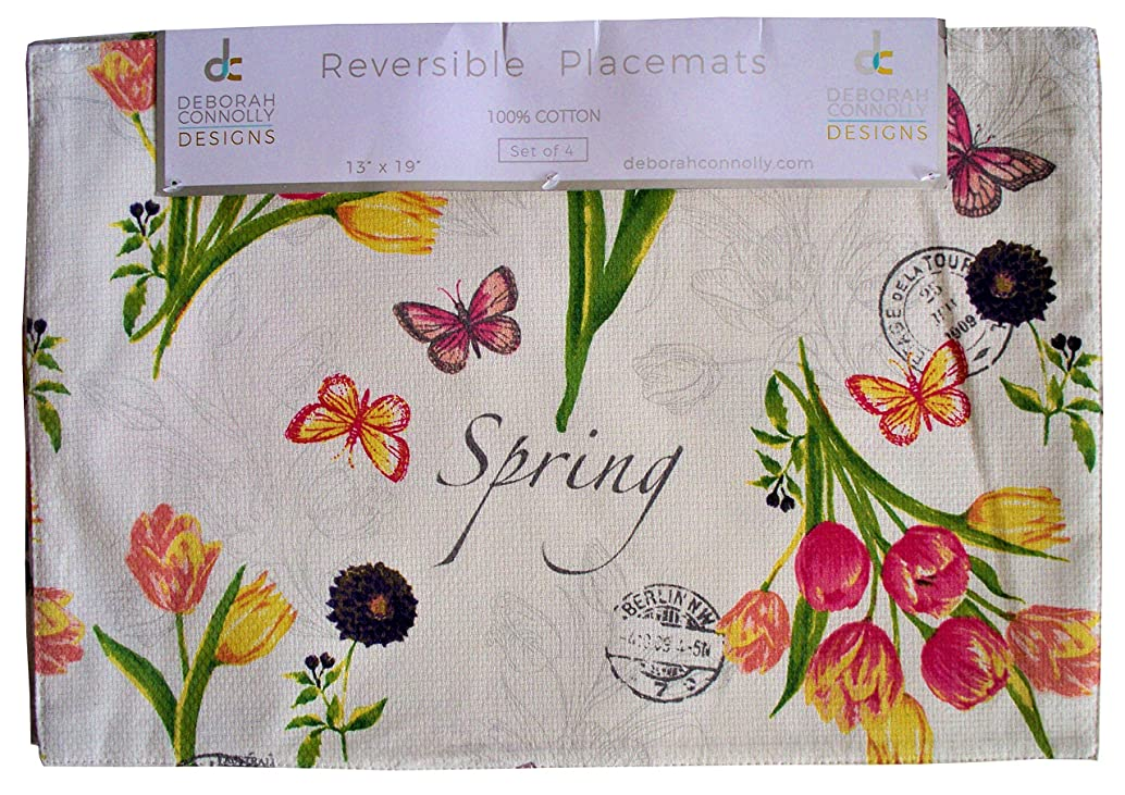 Deborah Connolly Placemats Place Mats Spring Floral Design Pink Yellow Purple Flowers Tulips on Ecru Off White Background