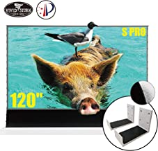 VIVIDSTORM S PRO Ultra Short Throw Laser Projector Screen,White Housing Motorized Floor Rising Screen 120 inch Ambient Light Rejecting Screen with a Set of White Wall Brackets VWSDSTUST120H