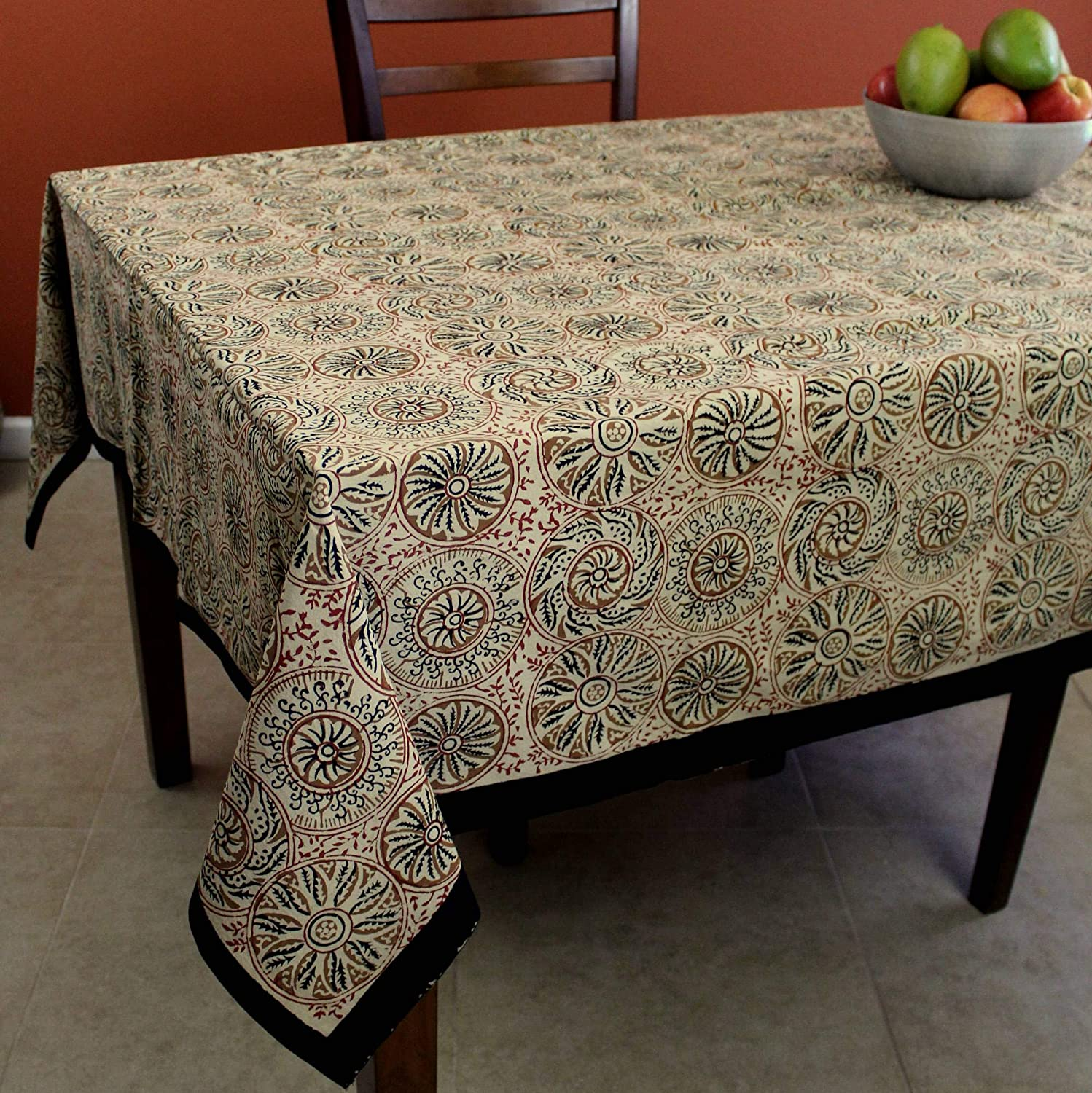 Indian Hand-block Printed Floral Square Tablecloth