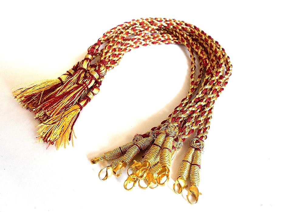 GOELX Designer Red & Gold Necklace Back Rope/Dori