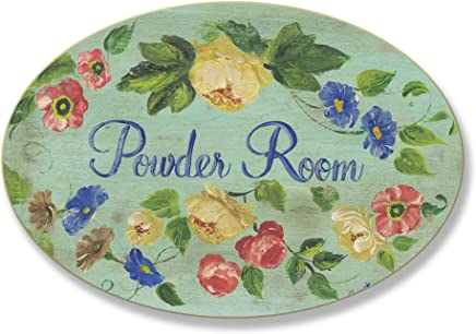 The Stupell Home Decor Collection Powder Room with Flowers Oval Bathroom Wall Plaque