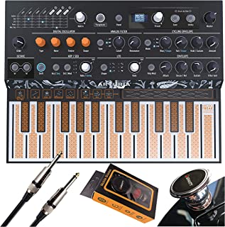 Arturia MicroFreak Hybrid Synthesizer 25-Key Paraphonic Hybrid Hardware Synth with Poly-aftertouch Flat Keyboard, Wavetable with Gravity Phone Holder and EMB Cable Bundle