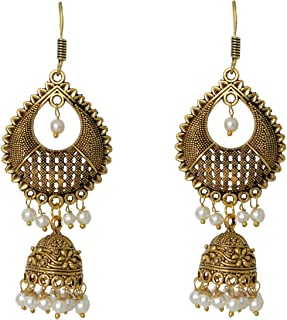 Oxidized Beaded Jhumka Indian Earrings Jewelry for Girls and Women