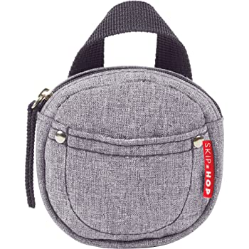 Skip Hop Paci Holder: Antimicrobial Lined Pacifier Pocket, Heather Grey