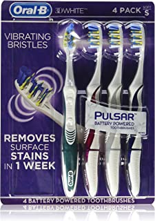Oral B 3D White Luxe 4 Pack Pulsar Battery Powered Toothbrushes
