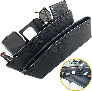 Inovare Designs Black Gap Filler Premium PU Full Leather Console Pocket Organizer, Interior Accessories, Car Seat Side Drop Caddy Catcher, 2 Pack