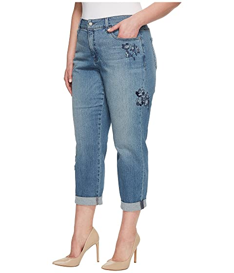 Purchase Cheap Price Sale For Cheap NYDJ Plus Size Plus Size Boyfriend w/ Floral Embroidery in Pacific Pacific Authentic Cheap Online Buy Cheap Extremely ixTJM
