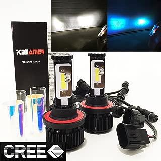 Mega Racer (2 Colors in 1 Set H13 9008 10000K Blue 6000K White (High/Low Beam) CREE COB LED Xenon Kit Kit 8000 Lumen 80W US