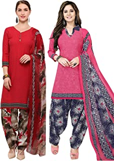Rajnandini Women's Red and Pink Crepe Printed Unstitched Salwar Suit Material (Combo Of 2) (Free Size)