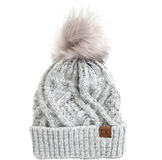 Sigma Kappa Faux Fur Pom Winter Beanie Hat Gray