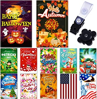 Seasonal Garden Flags Set 10 pcs + Bonus 2 pcs Flags - 12 x 18 Holiday Yard Flags Set and Festive Small Garden Flag by Bes...