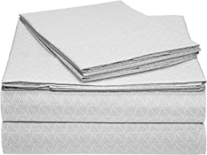 AmazonBasics Microfiber Sheet Set - (Includes 1 bedsheet, 1 Fitted Sheet with Elastic, 2 Pillow Covers) King, Grey Crosshatch