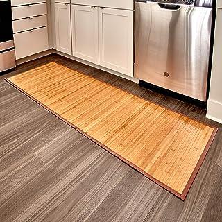 iDesign Formbu Bamboo Floor Mat Non-Skid, Water-Resistant Runner Rug for Bathroom, Kitchen, Entryway, Hallway, Office, Mud...