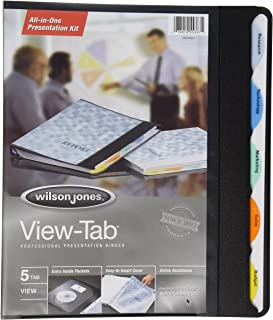 Wilson Jones View-Tab Round Ring Presentation Binder, 0.625 Inch Capacity, 5 Tab Style, Letter Size, Color May Vary (W55367)