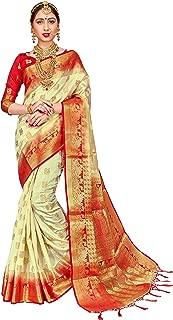 ELINA FASHION Sarees for Women Banarasi Art Silk Woven Work Saree l Indian Wedding Traditional Wear Sari & Blouse Piece