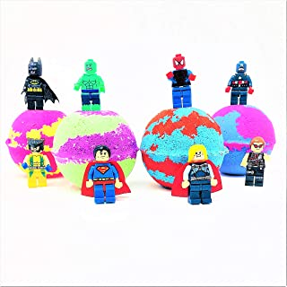 Kids Inspired Superhero Toy Surprise Mini Figure Bath Bomb Set All Natural & Homemade with a Texas Size Love