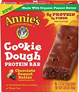 Annie's Homegrown Cookie Dough Protein Bar Chocolate Peanut Butter, 5.85 oz, (5 Count, 1 Box)