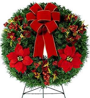 24 Inch Artificial Wreath with Poinsettia Ornaments, Poisettias, and a Hand Tied Red Bow on 30 Inch Easel (WR1811)