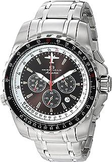 ساعة اوشينت للرجال بتصميم افيادور بايلوت كوارتز وسوار ستانلس ستيل، فضي، 22 (OC0111)