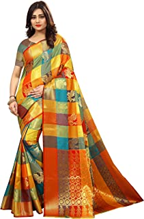 Silk Zone Women's Kanjivaram Silk Saree With Blouse Piece (MB0002,Multicolor,Free Size)