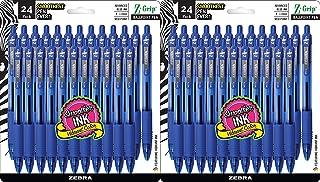 Zebra Pen Z-Grip Retractable Ballpoint Pen, Medium Point, 1.0mm, Blue Ink, 2 Pack of 24 (Packaging may vary)