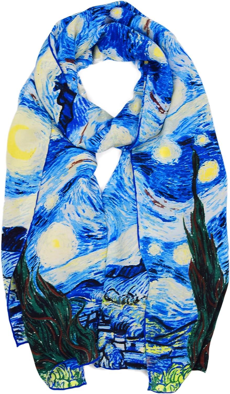 ELEGNA Luxurious 100% Silk Scarf Shawl with Hand Rolled Edge Van Gogh's Light Starry Night