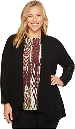 Karen Kane Plus - Plus Size Faux Leather Patch Sweater Jacket