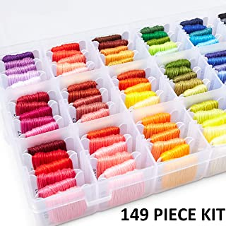 DMC Embroidery Floss Kit - 149 Pcs Embroidery Thread Organizer - Beginner Embroidery Floss Kit - Cross Stitch Thread - 96 Embroidery Floss Bobbins- Cross Stitching Tools