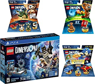 Lego Dimensions Starter Pack + Sonic The Hedgehog Level Pack + Gremlins Team Pack + E.T. Fun Pack for Playstation 4 or PS4 Pro Console